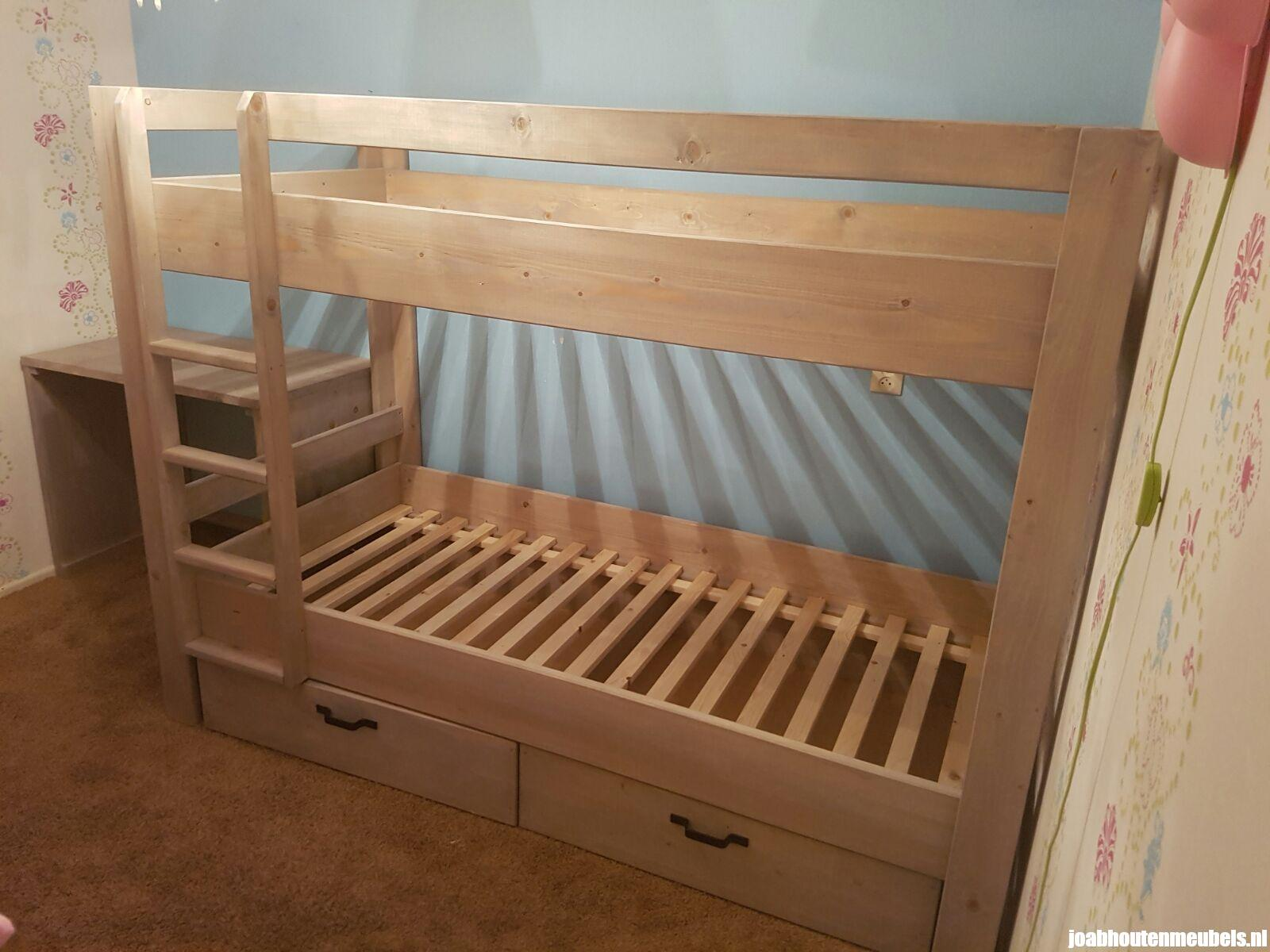 Stapelbed basis met lades joab houten meubels - Stapelbed met opslag trappen ...